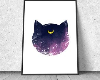 Luna, Sailor Moon inspired, watercolor illustration, giclee art print, silhouette, anime, wall decor