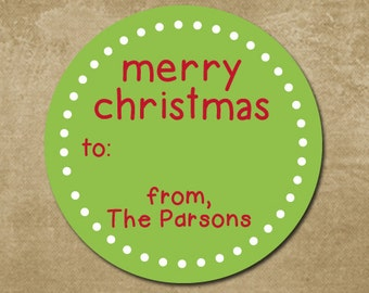 Personalized Holiday Stickers, Round Labels for Christmas, Gift Stickers, Holiday Gift Tags