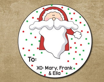 Santa Claus Stickers, Round Gift Stickers, Holiday Gift Tags, Christmas Labels, Santa Stickers