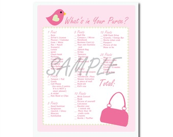 Cute Pink Bird Baby Girl Shower Game: What's in Your Purse? Printable Game