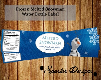 Frozen Water Bottle Labels Custom