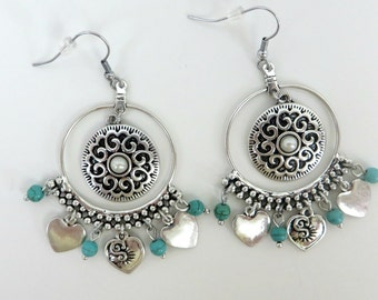 Dangle Earrings with Turquoise  Magnesite and Silver Heart  Charms