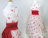 50s //  Bell of the Ball Party Dress // 1950s Prom Dress Flocked Red Velvet Flowers