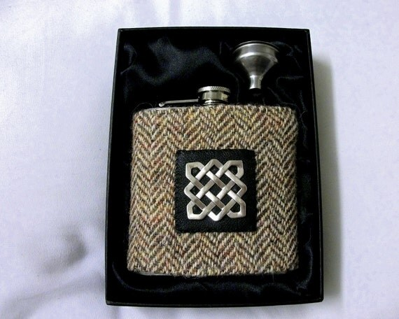 Scottish Wedding Gifts: Harris Tweed Hip Flask Mens Gift Scottish Made In Scotland
