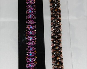 RIDGED RULLA Bracelet Beading Tutorial Using 3 Sizes of Seed Beads, Rullas and Crystals