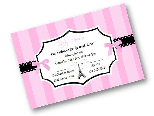 paris baby shower invitation eiffel tower invites by pinkpoproxx