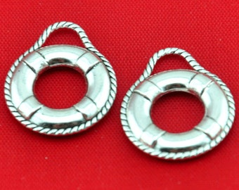 Life buoy charm -25pcs Antique Silver life buoy Charm Pendants----18*21mm--G388