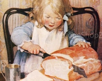 Little girl and Loaf of Bread - Jessie Willcox Smith