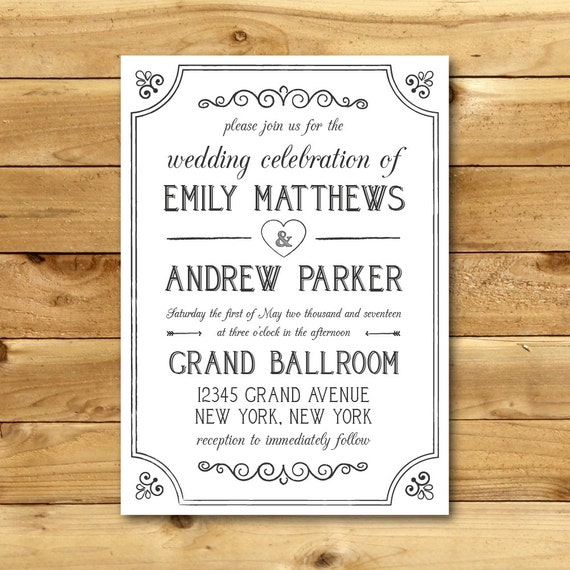Etsy Invitation Template with adorable invitation example