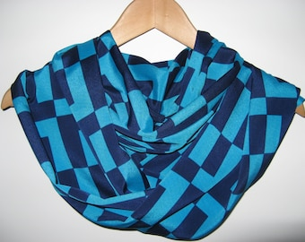 SALE***Navy Aqua Blue Geometric Checkered Infinity Scarf Wrap