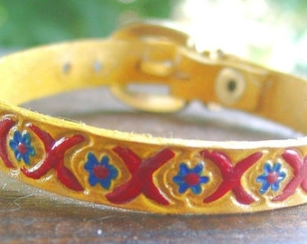 Leather Bracelet, multi colored, yellow-blue-red