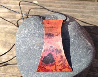 Red heat patina copper pendant with adjustable waxed thread necklace