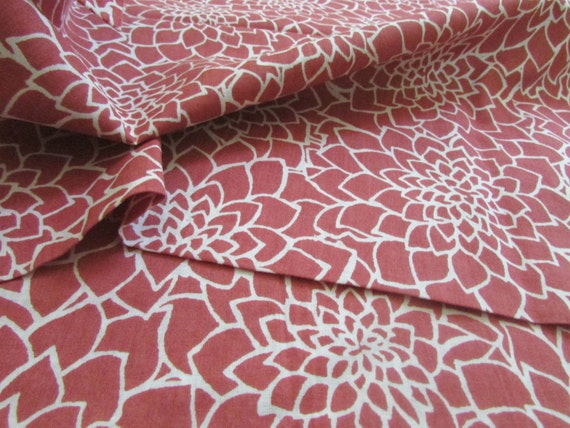 Dahlia Floral Print, Indian Cotton, Organic Fabric, Madder Red, White, Light Weight, By the yard, Herbal Dyed, Plant Dyes, Natural Dyes