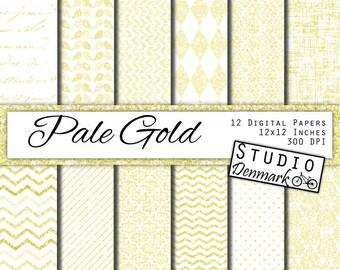 Pale Gold Shimmer Digital Paper - 12 Elegant Gold Wedding - Commercial Use Gold Glitter Patterns - 12x12in 300 dpi jpg - Instant Download