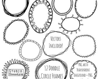 Doodle Circle Frames Clipart and Vectors - Hand Drawn Circle Clip Art - Oval and Round Labels - Circle Borders Digital Stamp Download