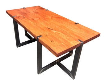 Solid Maine Pine and Raw Steel Coffee Table