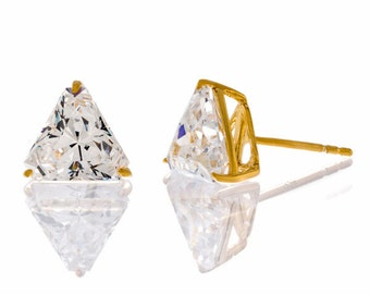 Triangle Cut 5A Cubic Zirconia Stud Earrings, set in .925 Sterling Silver