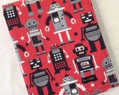 Baby blanket or baby mat. Red retro robots on a galaxy of stars. Little boy or baby boy cotton blanket by Avie and Mabel, Australia.