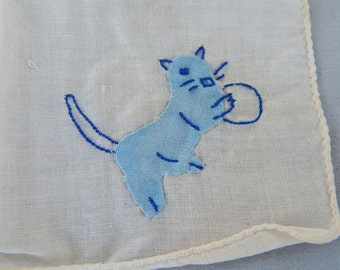 Adorable Child's Handkerchief with Blue Cat - 1930s?