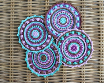 Crochet mandala cotton coaster PDF pattern, instant download