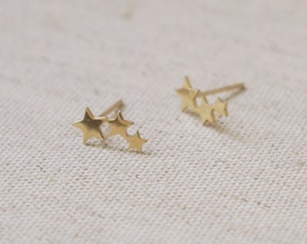 10K Gold tiny 3 star stud earrings, solid Gold, 10k real Gold - TG068