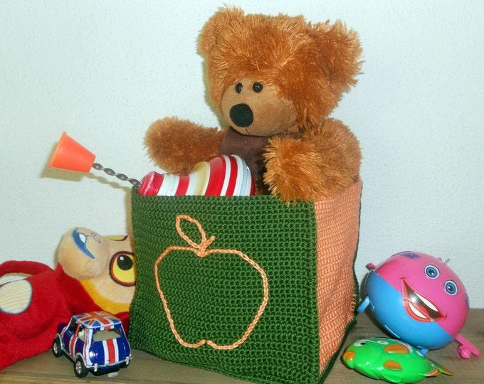 Nursery Storage Bin, Orange Apple on Emerald Orange Crochet Basket, Bright Nursery Storage, Green Nursery, Orange Nursery, Baby Shower Gift