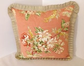Coral Floral print Pillow Cover with Burlap ruffle, 14X14