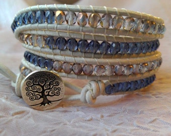 Leather Wrap Bracelet - Denim Blue, Gold and Crystal, Boho Wrap Bracelet, Gypsy Wrap Bracelet