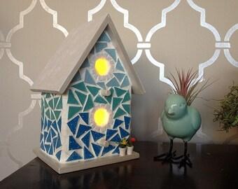 Ombre Mosaic Light Up Bird House