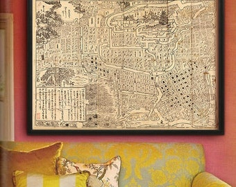 "Tokyo map 1682, Historical map of Tokyo, Edo, 4 sizes up to 48x36"" (120x90cm) Woodblock map of Edo, Tokyo Japan - Limited Edition of 100"