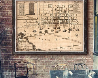 "Map of Philadelphia 1762, Old Philadelphia map, Poster in 4 sizes up to 48x36"" Vintage map of Philadelphia PA - Limited Edition of 100"