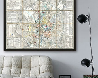 """Map of Milan 1856, Vintage Milan map, 4 sizes up to 48x36"""" (120x90 cm) old city map of Milano, Italy - Limited Edition of 100"""