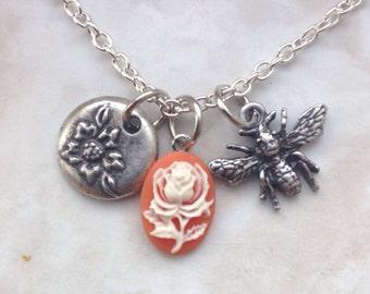 Vintage Garden Theme Charm Necklace