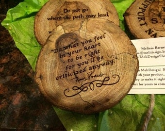 YOUR QUOTES! Laser Etched Wooden Coasters.