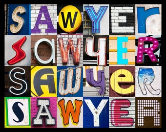 Personalized Poster featuring SAWYER showcased in photos of letters from signs; Typography print; Wall decor; Custom wall art; Name poster