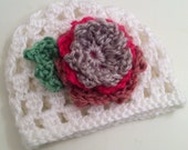 Newborn Baby Girl Crocheted Beanie with Flower