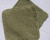 Set of 2 Cotton Hand Knitted Dishcloths Green