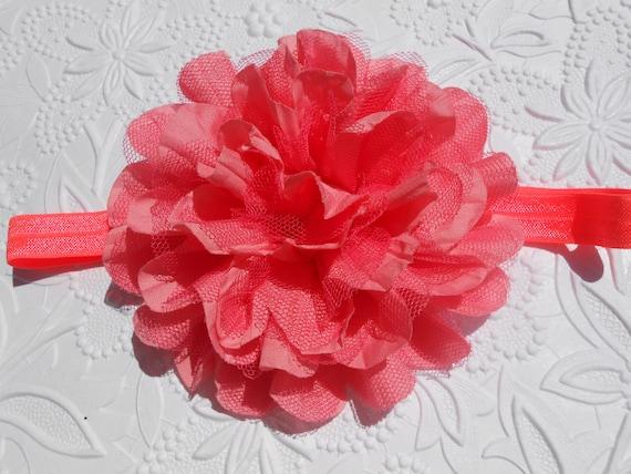 Coral Frayed Lace Chiffon flower Baby Headband, Newborn Headband,  Infant Headband,Baby Headband, Headband Baby, Baby Headband