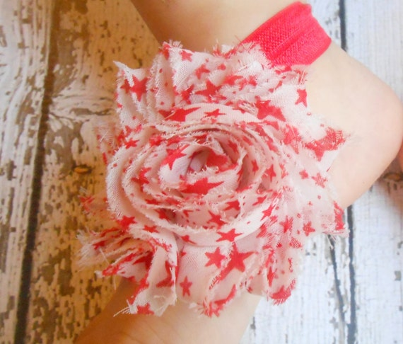 White/ Red Star flower Baby Barefoot Sandals ,Shabby Flowers with Red Elastic , Toddler Sandals ,Newborn Sandals ,Baby Flower Sandals