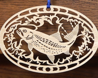 Wood Trout ornament woodcut decoration fish ornament