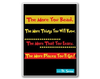 Dr. Seuss Art Poster Reading Quote Wall Decor (S30)