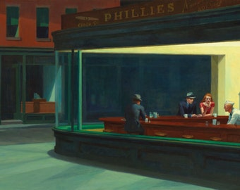 Nighthawks by Edward Hopper, in various sizes, Giclee Canvas Print