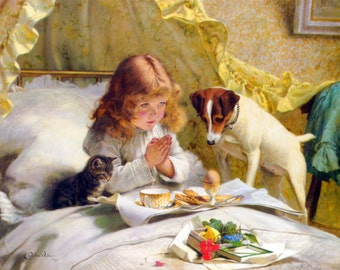 Suspense by Charles Burton Barber, various sizes, Canvas Giclee Print