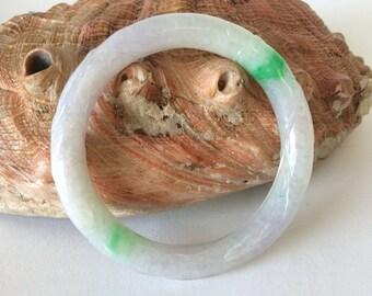 Natural Color Solid  Jade Bangle