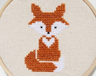 Fox Cross Stitch Pattern PDF Forest Animals Modern Nursery Counted Cross Stitch Digital Download