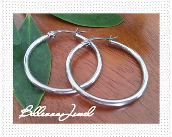 Stainless Steel Dangle Hoop Earrings Diameter 30mm