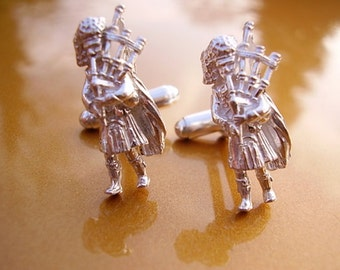 One Pair Sterling Silver Scottish Bagpiper Cufflinks In Presentation Box