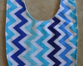 Handmade Multi blue colored Chevron bib.Ready to ship.