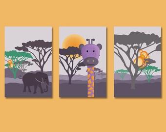 set of 3 posters on savannah with a giraffe, elephant and monkey, boy wall art décor, kids room, nursery