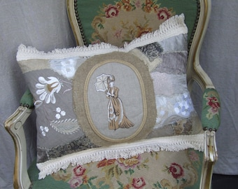 MILADY.LINEN PILOW. Embroidered linen, Shabby Chic, Eco home.Ready to ship